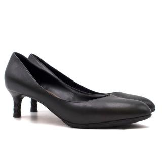 Bottega Veneta Black Leather Kitten Heel Pumps