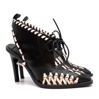 Louis Vuitton Lace-up Woven Sling-Back Pumps