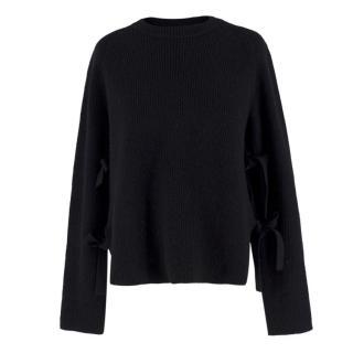 Proenza Schouler Black Cashmere & Wool-blend Tie Side Jumper