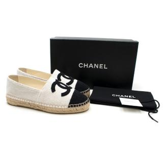 Chanel Silver and Black CC Captoe Espadrilles