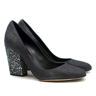 Sergio Rossi Black & Silver Glitter Block Heel Pumps