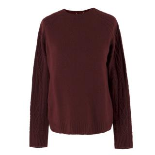 The Row Burgundy Wool Knit Jumper