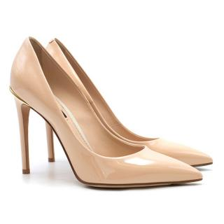 Louis Vuitton Nude Patent Leather First Lady Pumps