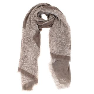 Chanel Beige Cashmere Large Scarf