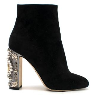 Dolce & Gabbana Black Suede Clock Embellished Heel Ankle Boots