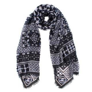 Chanel Navy and White Cashmere Fair Isle Pattern Scarf