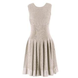 Alaia Beige Stretch Knit Dress