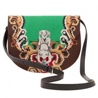 Loewe Green & black Bag Lapin embroidered cross-body bag