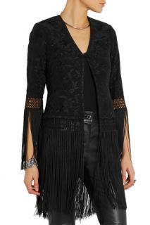 Talitha Ghara fringed embroidered silk-georgette jacket