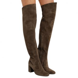 Saint Laurent Brown Stretch Suede Over-The-Knee Boots