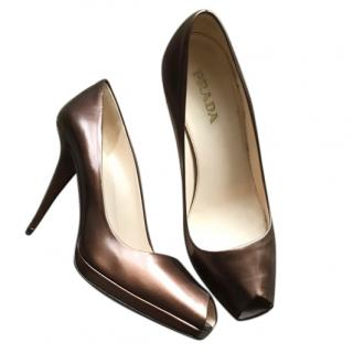 Prada Bronze Peep Toe Pumps