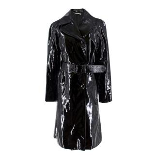 Prada Black Patent Leather Trench Coat