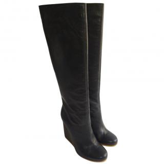 Lanvin calf leather Knee High Wedge Navy Boots
