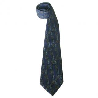 Hermes Koala Bears Blue Silk Neck Tie