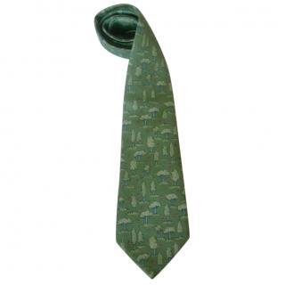 Hermes Green Trees and Butterflies Silk Neck Tie