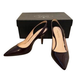 Prada Burgundy Patent Slingback Sandals