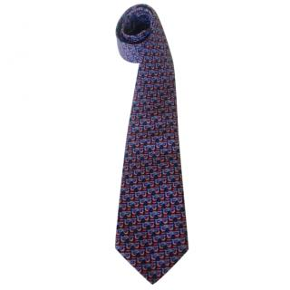 Hermes Falcon Bird Motif Neck Tie