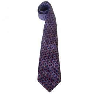 Hermes Falcon Bird Motif Neck Tie