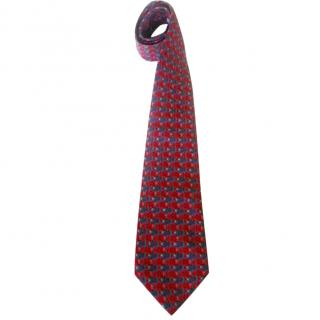 Hermes Interlocking Fish Motif Neck Tie