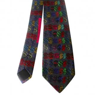 Andy Warhol Flammarion Dollar Signs Silk Neck Tie
