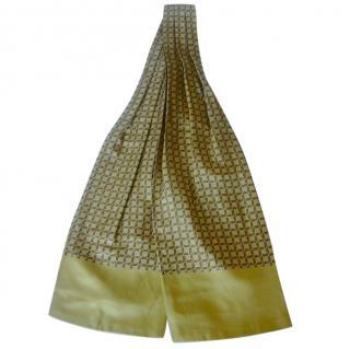 Hermes Yellow Horse Shoe Silk Ascot Neck Tie Scarf