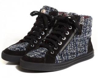 Chanel Tweed Suede High Top Sneakers