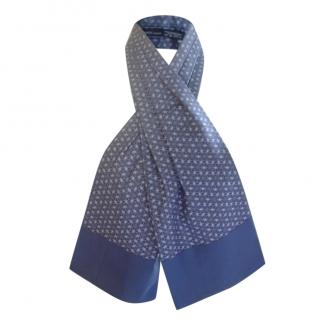 Hermes Blue Ascot Style Neck Tie Scarf