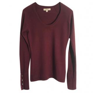 Burberry extra fine merino wool burgundy jumper