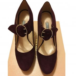 Prada Burgundy Suede Mary Jane Pumps