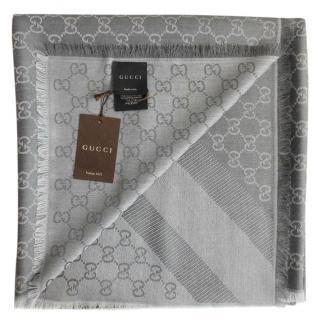 Gucci Grey Guccisima Wool & Silk Scarf