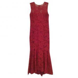 Jacques Azagury red lace evening dress