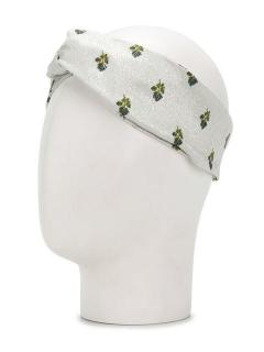 Valentino Metallic Silver Petites Roses Headband