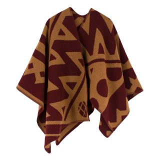 Burberry Wool & Cashmere-blend Abstract Patterned Poncho