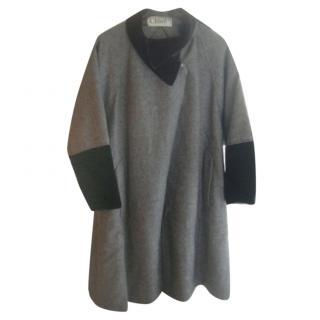 Chloe Grey Wool Velvet Trim Coat