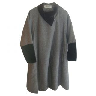 Chloe Grey Wool Velvet Trim Coat