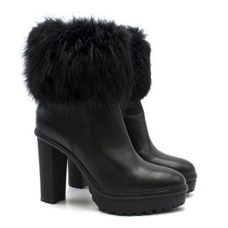 Moncler Fur Trimmed Black Cleated Sole Platform Boots