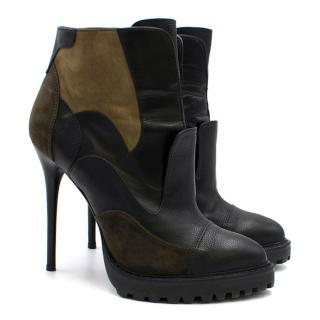 Alexander McQueen Suede & leather Patch Stiletto Boots