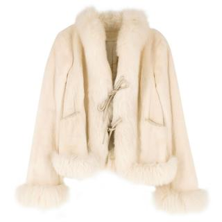 Valentino Cream Fox & Mink Fur Jacket