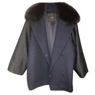 Max Mara wool coat with fox fur collar