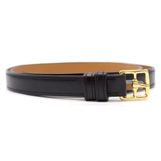 Hermes Black Leather Skinny Belt