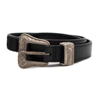 Saint Laurent Black Leather Skinny Western Belt