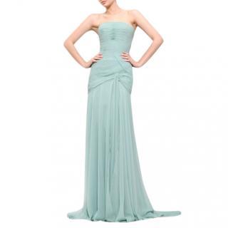 Bespoke Draped Chiffon silk Gown in Aqua