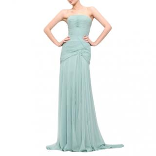 Bespoke Draped Chiffon silk Gown in Aqua