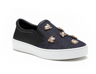 Dior Denim & Bee Embroidered Slip-Ons