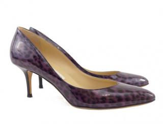 Jimmy Choo purple leopard print patent irena pumps