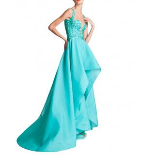 Rani Zakhem Turquoise Ball Gown with Organza Skirt and beaded top