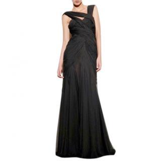 Bespoke Draped Gown in Silk Chiffon Black