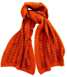Hermes Knit Orange Cashmere Scarf