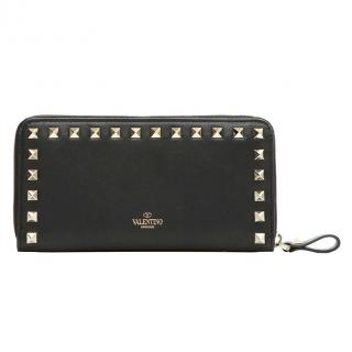 Valentino Rockstud Continental Black Calf Leather Purse