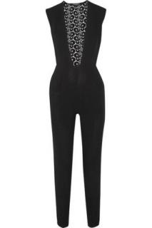 Pedro del Hierro Cleandro crepe and guipure lace jumpsuit